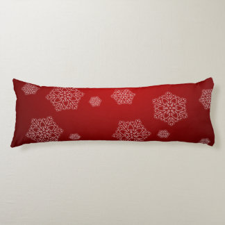 Christmas Snowflakes on the Red Background Body Cushion