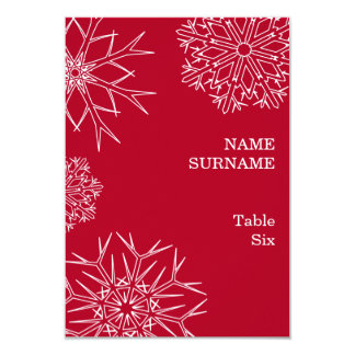 Christmas Snowflakes Place Card/Table Number - Red 9 Cm X 13 Cm Invitation Card