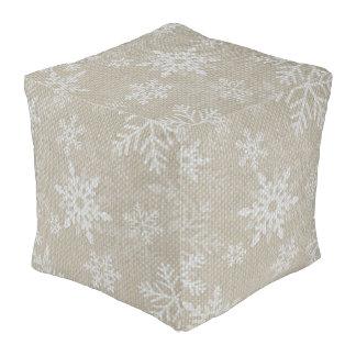 Christmas Snowflakes Pouf Cushion