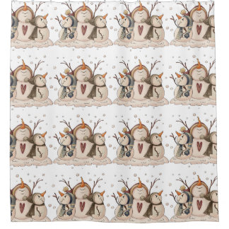 Christmas Snowman Rustic Country Primitive Winter Shower Curtain