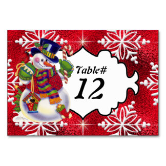 Christmas Snowman Table Number card Table Card