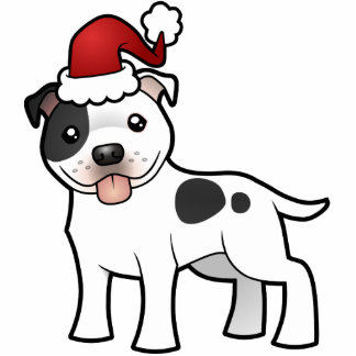 Christmas Staffordshire Bull Terrier Ornament Photo Cut Out