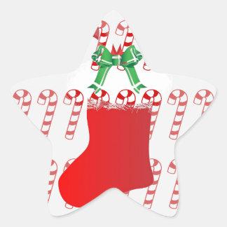Christmas Stocking Candy Cane Peace Destiny Star Sticker