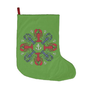 Christmas stocking Cute Lobster Nautical green