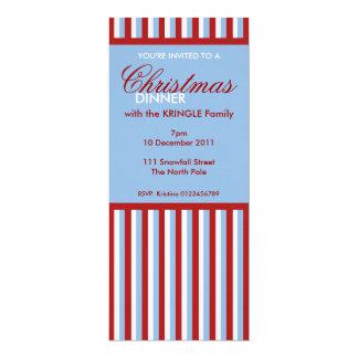 Christmas Stripes blue Christmas Dinner Invitation