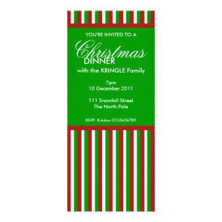Christmas Stripes green Christmas Dinner Invite