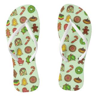 Christmas Sugar Cookies Xmas Holiday Flip-Flops Jandals