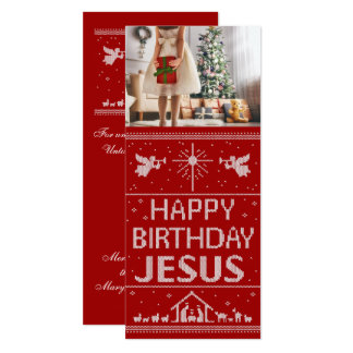 Christmas Sweater Happy Birthday Jesus  Religious Card