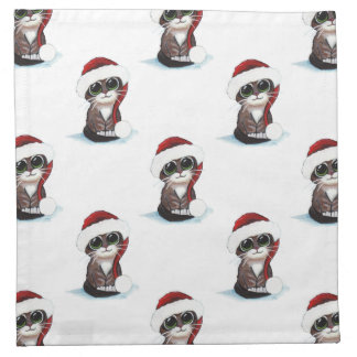 Christmas Tabby Cat Kitten in Santa Hat Pattern Napkin