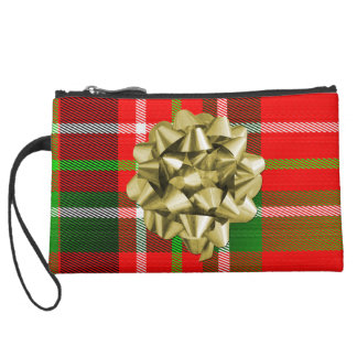 Christmas Tartan Pattern and Bow Suede Wristlet