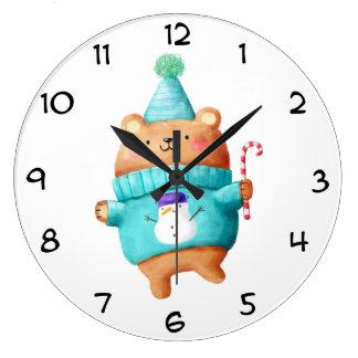 Christmas Teddy Bear Clock