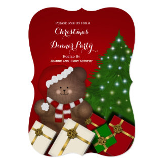 Christmas Teddy Bear Party Invitations