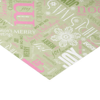 Christmas Text and Snowflake Pattern Green ID257 Tissue Paper