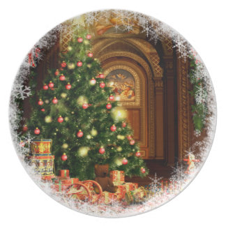 Christmas Tree and Gifts Party Plate