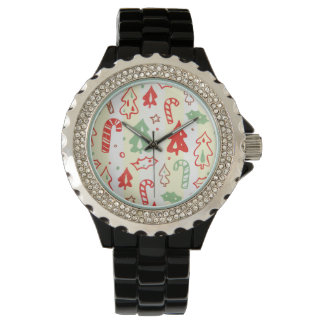 Christmas Tree Candy Cane Holly Pattern Watch
