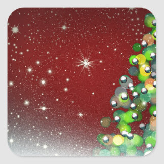 Christmas Tree Holiday Peace Love Destiny Square Stickers