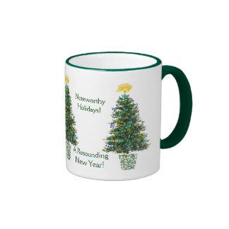 Christmas Tree Music Theme Decorations and Wishes Ringer Mug