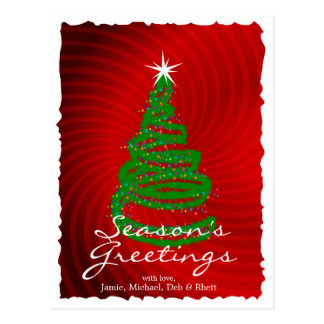 Christmas Tree On Red Swirly Background Postcard
