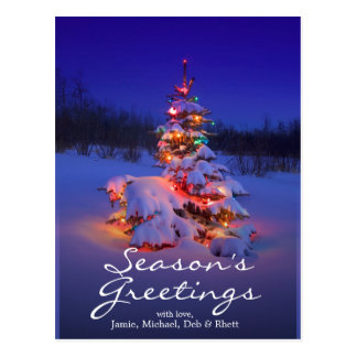 Christmas tree outdoors glowing at night postcard