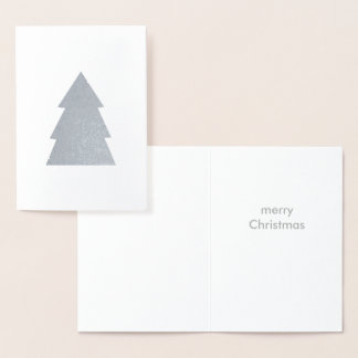Christmas Tree Silver Foil Merry White Foil Card