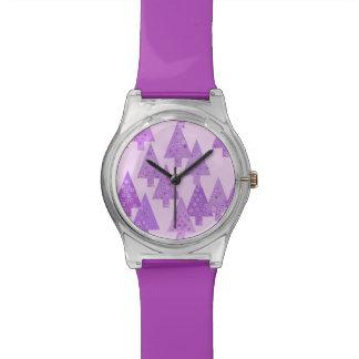 Christmas trees, flowers, modern lavender print watch