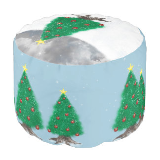 Christmas Trees in the Snow Seat Cushion Pouf