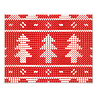 Christmas Trees Red Jumper Knit Pattern Photo Print