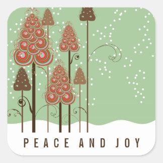 Christmas Trees Snow Peace & Joy Holiday Sticker