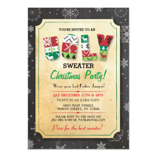 Christmas Ugly Sweater Jumper Party Dinner Invite