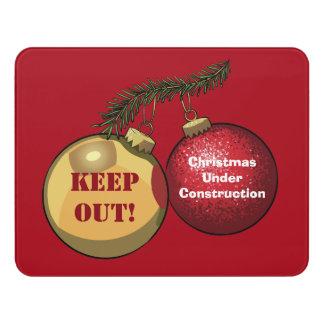 Christmas Under Construction Baubles Cartoon Door Sign