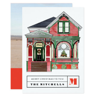 Christmas Victorian Home Illustration Photo Card 13 Cm X 18 Cm Invitation Card