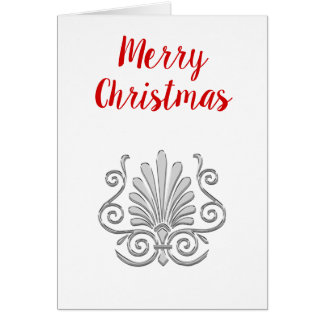 Christmas Vintage Art Deco Silver Plume Arabesque Card