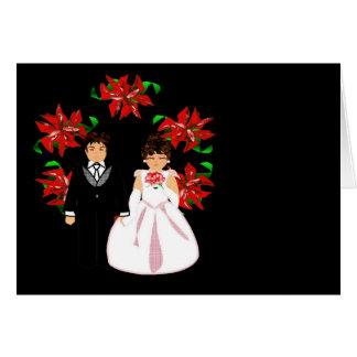 Christmas Wedding Couple I With Wreath Greeting Card