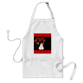 Christmas Wedding Couple III In Red With Heart Aprons