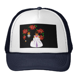 Christmas Wedding Couple In Navy Round Wreath Trucker Hat