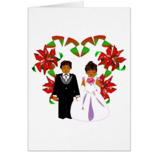 Christmas Wedding Couple With Heart Wreath I Card