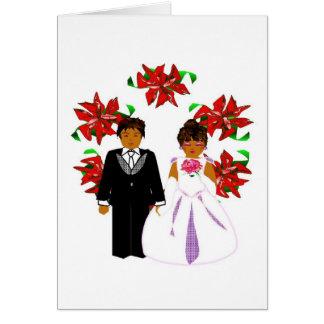 Christmas Wedding Couple With Wreath Card