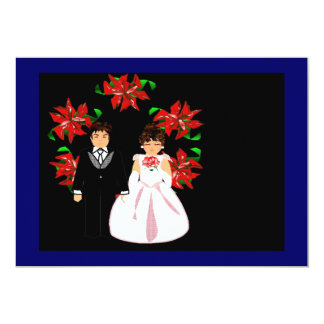 Christmas Wedding Couple With Wreath In Blue 5x7 Paper Invitation Card