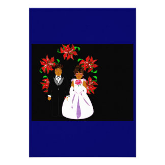 Christmas Wedding Couple With Wreath In Blue Custom Invitations