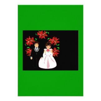 Christmas Wedding Couple With Wreath In Green Blue Custom Announcement