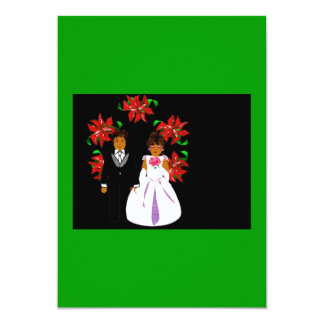Christmas Wedding Couple With Wreath In Green 5x7 Paper Invitation Card