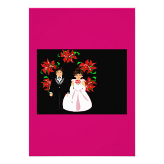 Christmas Wedding Couple With Wreath In Pink Red Invitations