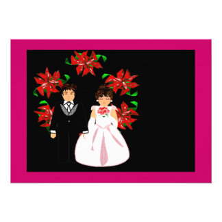Christmas Wedding Couple With Wreath In Pink Red Custom Invitation