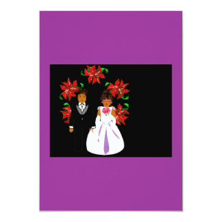 Christmas Wedding Couple With Wreath In Purple 5x7 Paper Invitation Card