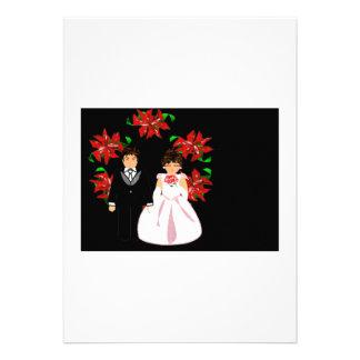 Christmas Wedding Couple With Wreath Custom Announcements