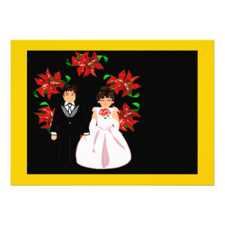 Christmas Wedding Couple With Wreath Custom Announcement