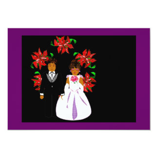 Christmas Wedding Couple With Wreath 5x7 Paper Invitation Card