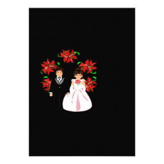 Christmas Wedding Couple With Wreath Personalized Invitations