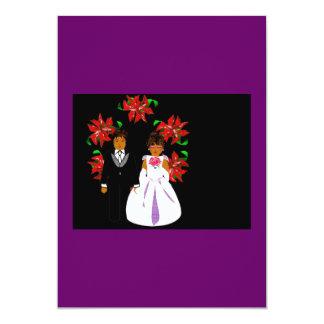 Christmas Wedding Couple With Wreath Purple Blue 5x7 Paper Invitation Card
