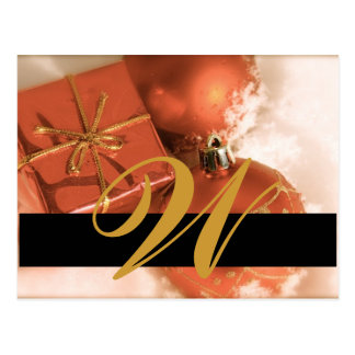 Christmas Wedding Monogram Save the Date Card Postcard